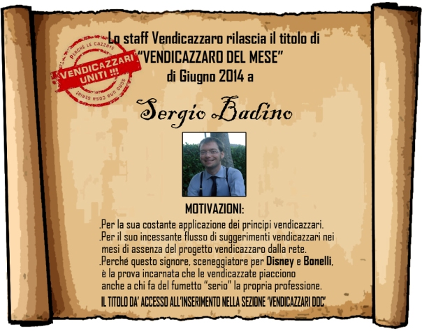 Sergio Badino vendicazzaro del mese